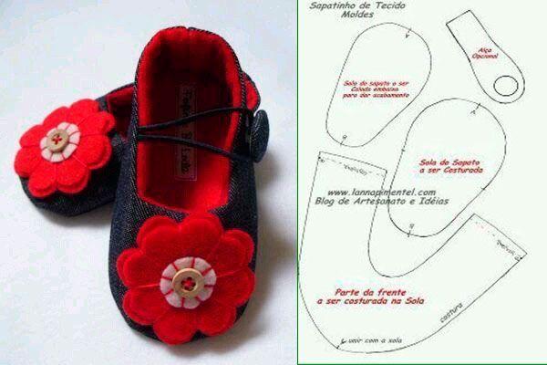 6 Modelos con molde de zapatillas para bebe 7