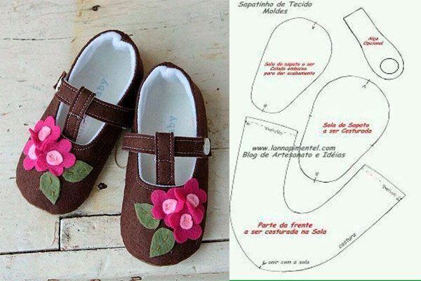 6 Modelos con molde de zapatillas para bebe 4