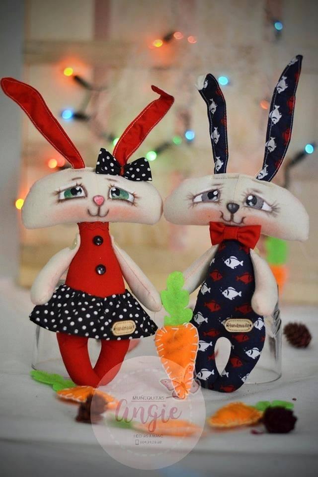 Conejo de tela con patrón gratis - Marina Creativa