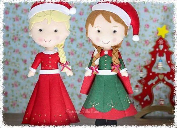 Elsa y Anna en Navidad de fieltro con moldes