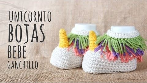 Botas unicornio para bebe en ganchillo