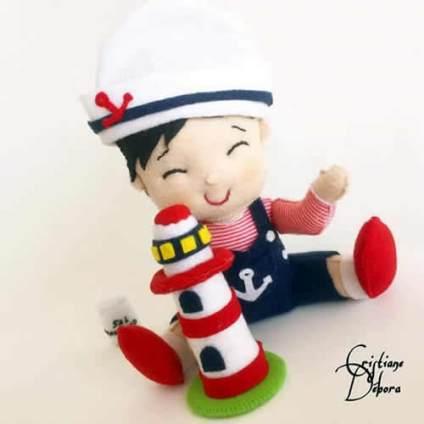 Muñeco bebé marinero en fieltro con moldes