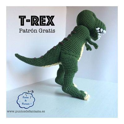 Patrón gratis para hacer un dinosaurio T-rex en amigurimi 2