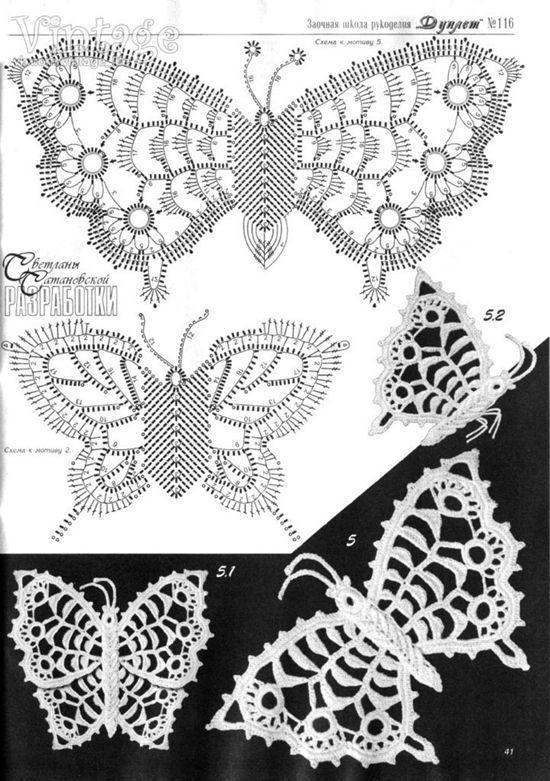 Patrón para tejer mariposas a crochet 2