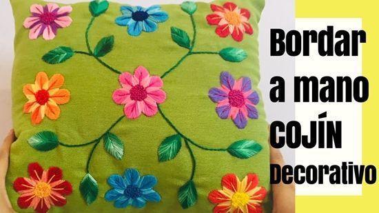DIY+Patrón para hacer un cojín bordado a mano