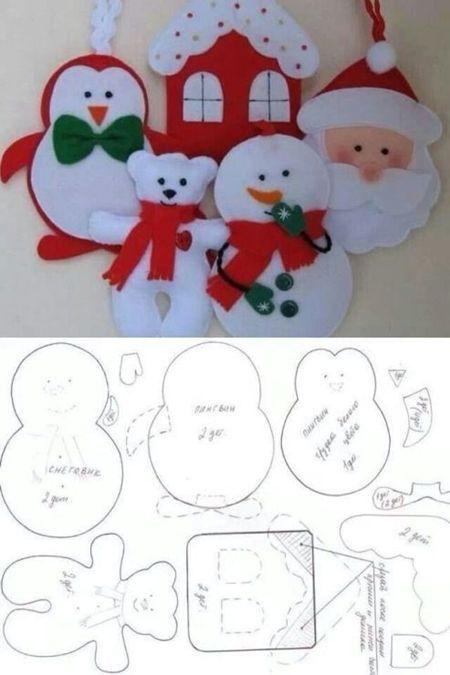 Moldes para hacer adornos navideños de fieltro (2)