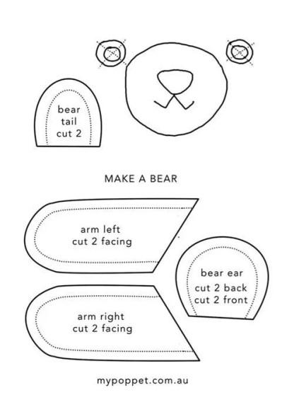 Peluche oso,gato o conejo con patrones (4)