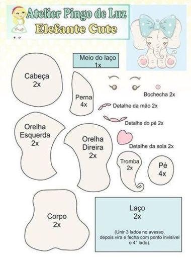 7 Moldes de fieltro de elefantes (molde 4)