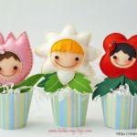 Flores con cara en maceta con moldes gratis