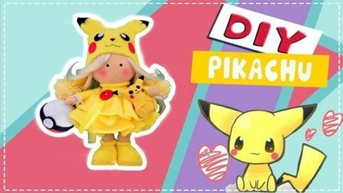 DIY + molde muñeca rusa Pikachu en fieltro