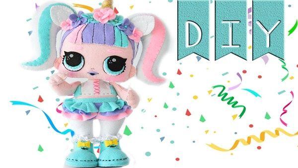Diy+molde muñeca Lol Surprise unicornio fieltro