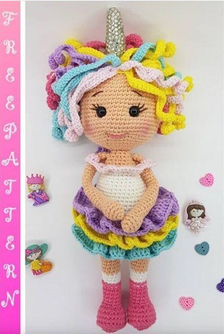 Patrón gratis muñeca unicornio en amigurumi