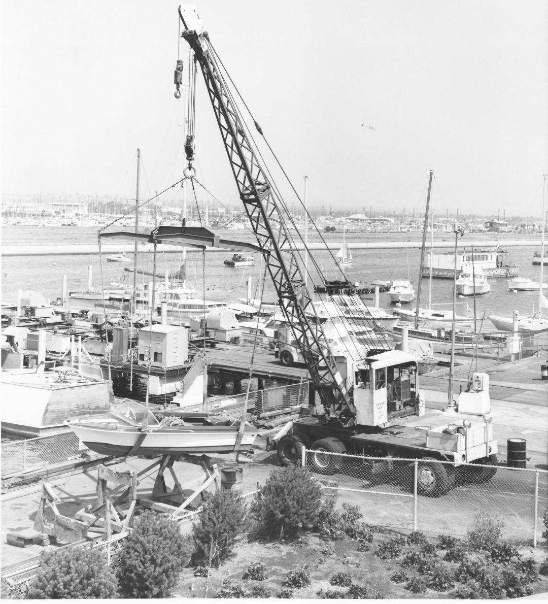 Motorboat on a Crane