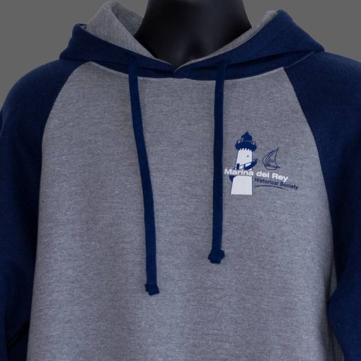 Gray and blue hoodie with society logo