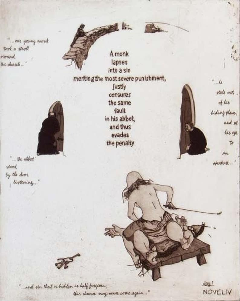 "Illustrations for the book ""Decameron""by Giovanni Boccaccio. Original prints by painter-printmaker Marina Kim"