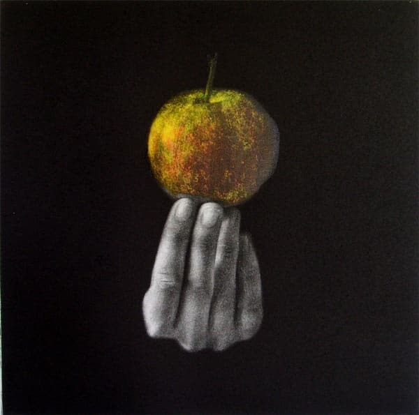 """""""Apple"""" - Picture of hand a holding up an apple, on a black background. Central part of the triptych. Original print mezzotint with Chine Colle by painter-printmaker Marina Kim"""