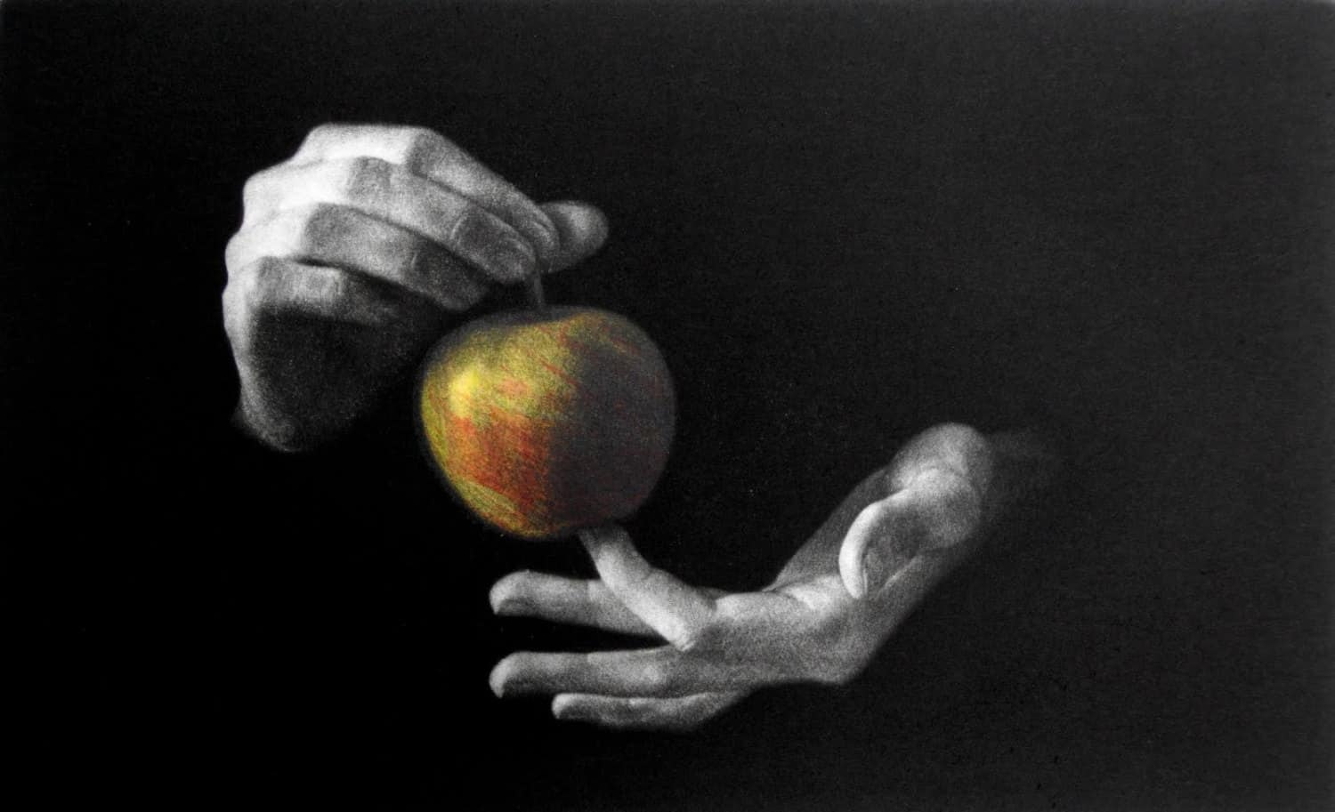 """""""Apple"""" - Picture of hands holding an apple, on a black background. Left part of the triptych. Original print mezzotint with Chine Colle by painter-printmaker Marina Kim"""