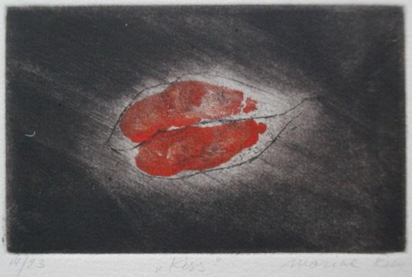 """Kiss"" - picture of red lips on a black background. Original print mezzotint by painter-printmaker Marina Kim"