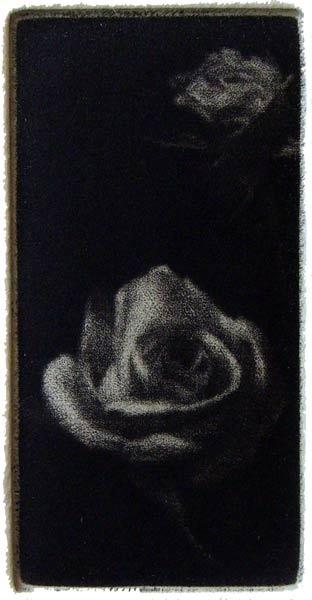 """Roses"" - black and white miniature picture of two roses. Original print mezzotint by painter-printmaker Marina Kim"