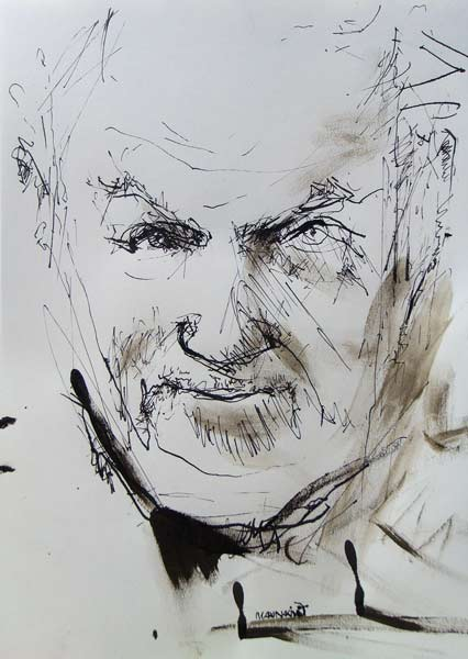 """""""The Devil You Know?"""" Portrait of John Izod. Ink on paper drawing by British painter-printmaker Marina Kim"""