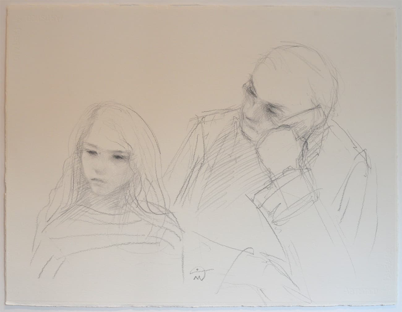 Emma and Michael. Portrait drawing. Pencil on paper.