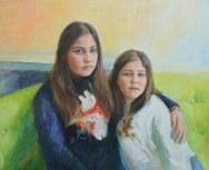 Portrait of Aiko and Suki Sheraton. Portrait drawing. Pencil on paper. Portrait commission by artist Marina Kim