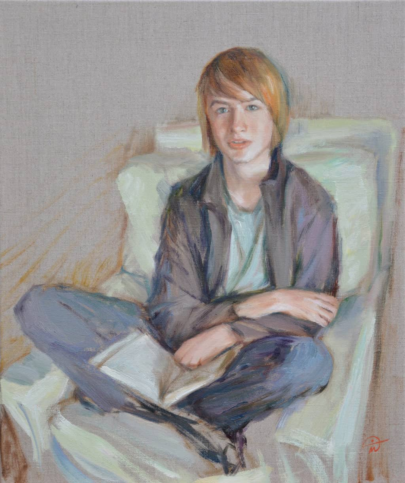 Portrait of Alfie. Oil on canvas. Portrait commission by artist Marina Kim