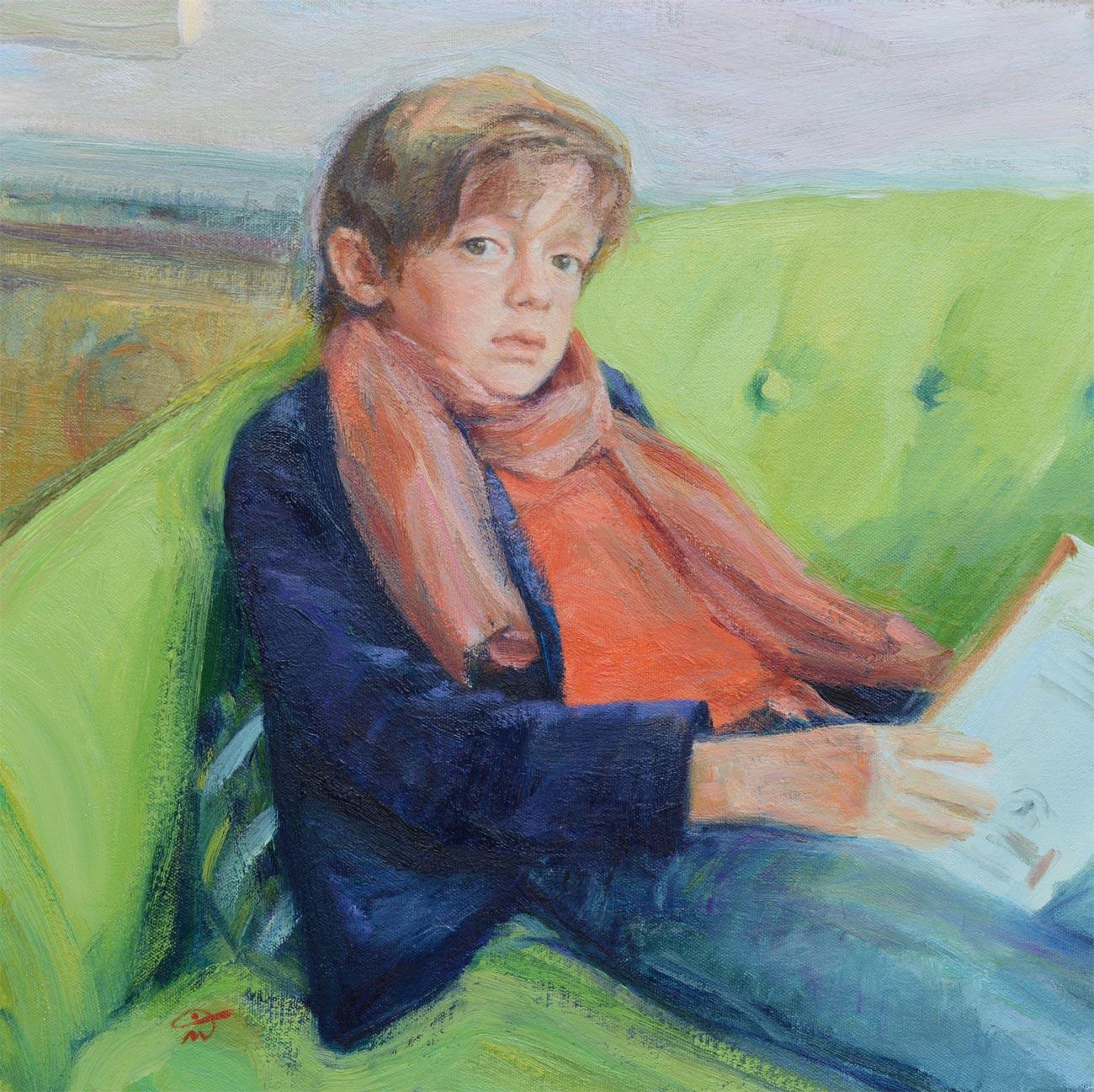 Portrait of Hugh. Oil on canvas. Portrait commission by the British artist Marina Kim