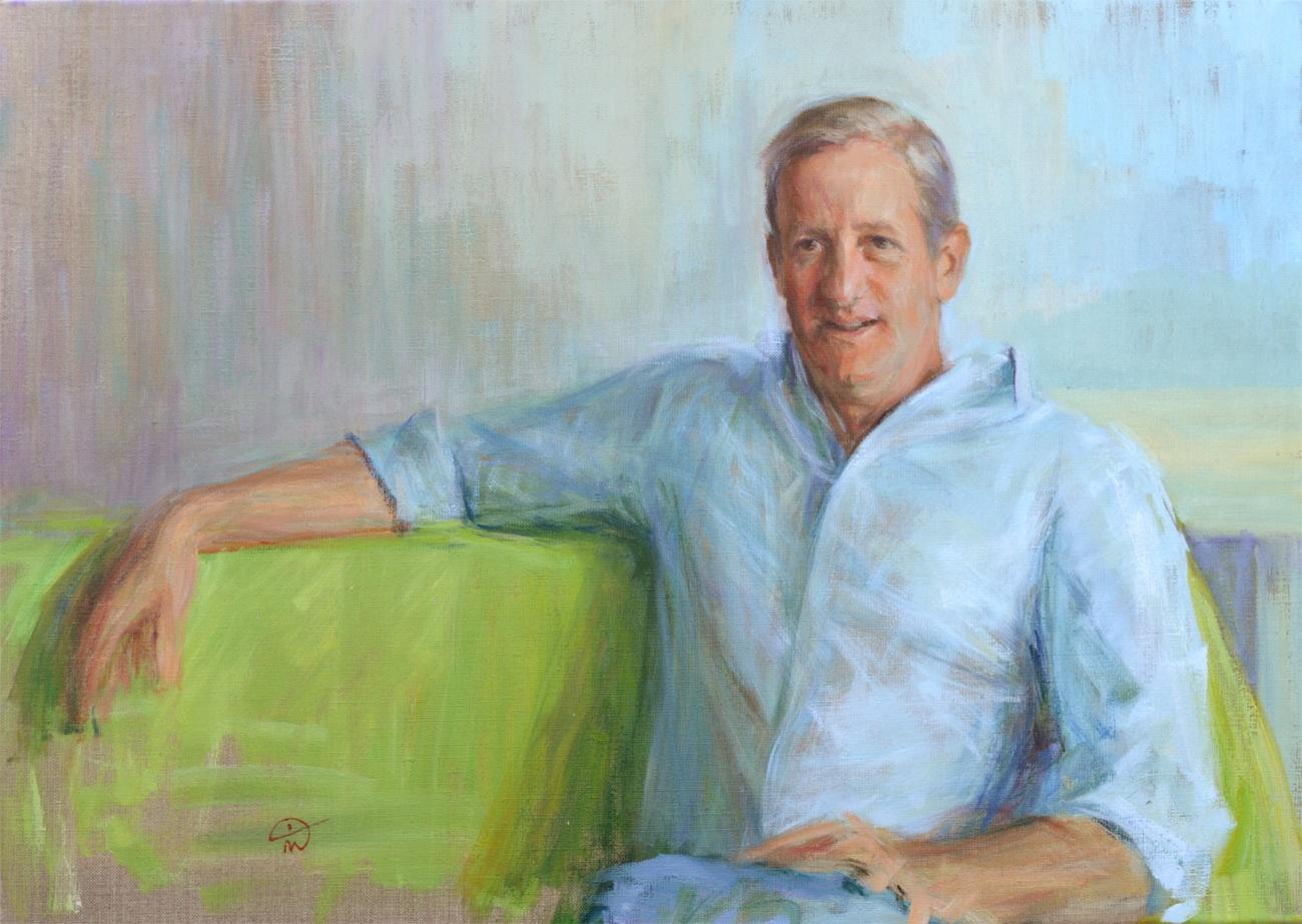 Portrait of Mark Elliott. Portrait commission portfolio of the British artist Marina Kim