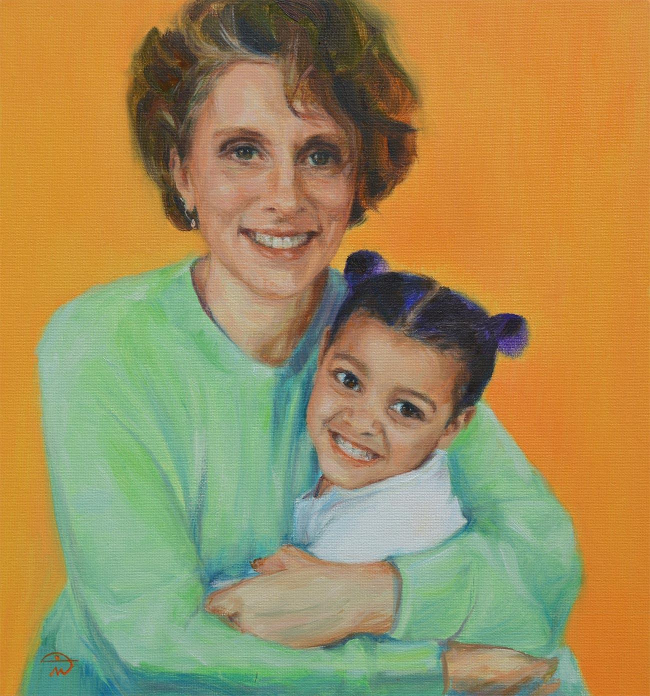 With my Grandma. Commission a portrait by British artist Marina Kim