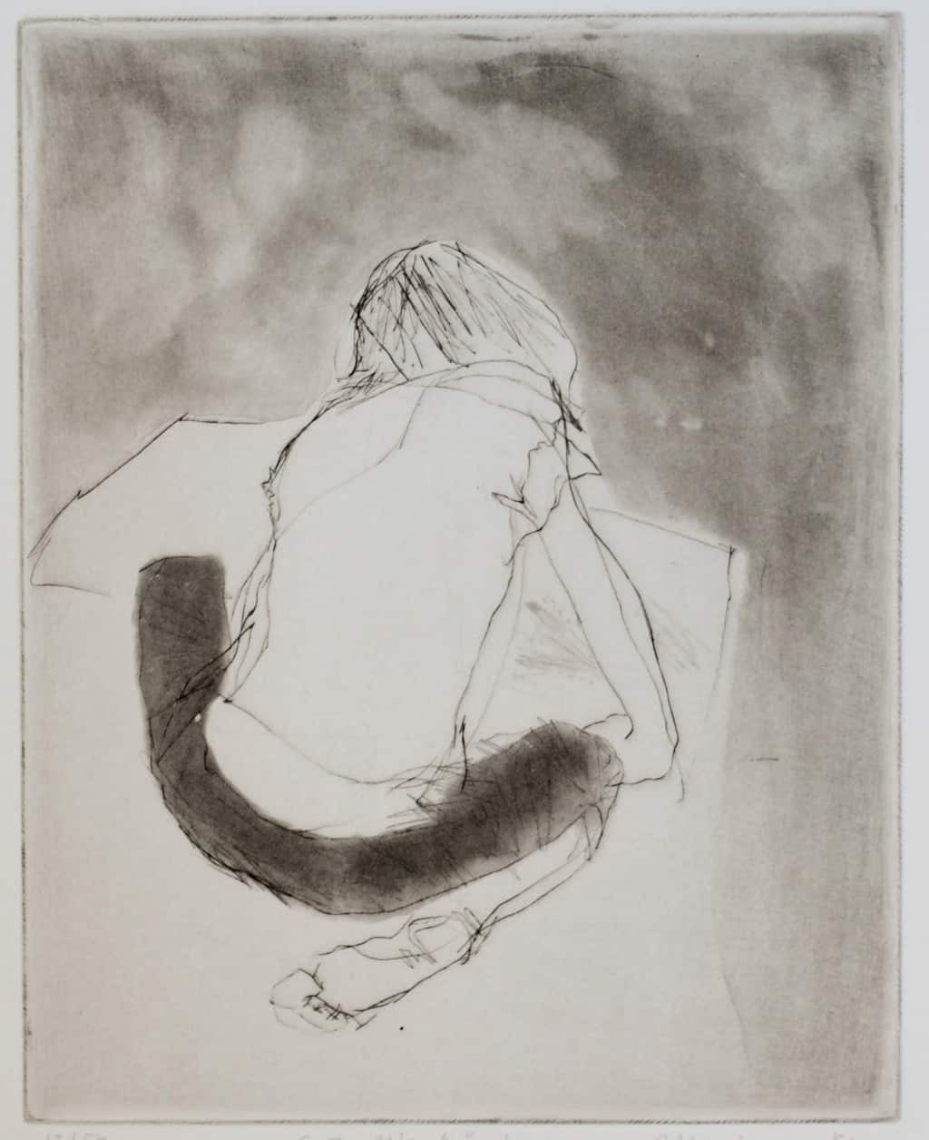 """""""Artwork"""" - line drawing of a child sitting on the floor making artwork. Original print drypoint and etching by painter-printmaker Marina Kim"""