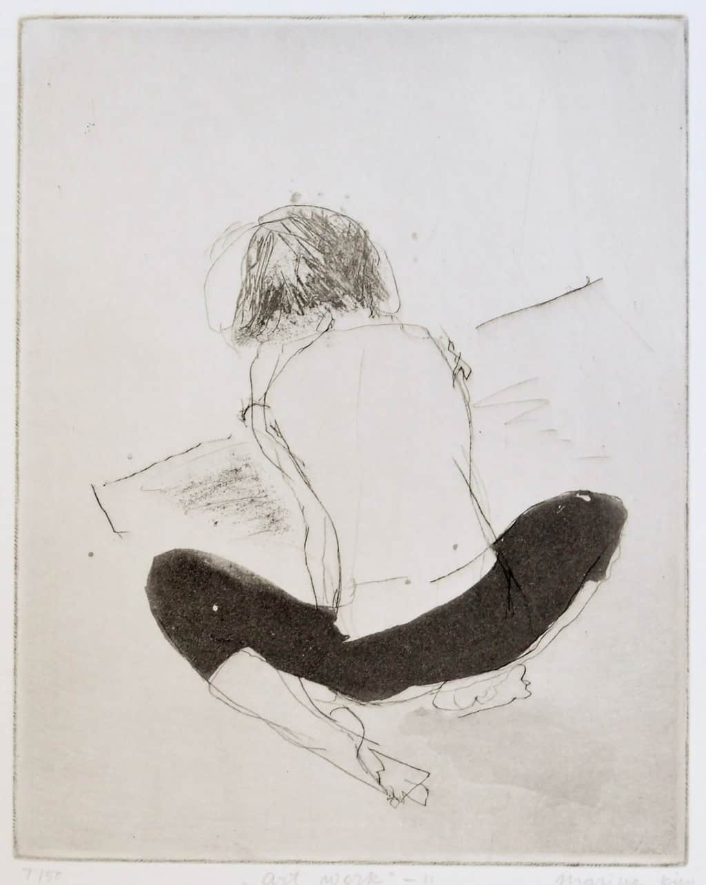 """""""Artwork"""" 1 - line drawing of a child sitting on the floor making artwork. Original print drypoint and etching by painter-printmaker Marina Kim"""