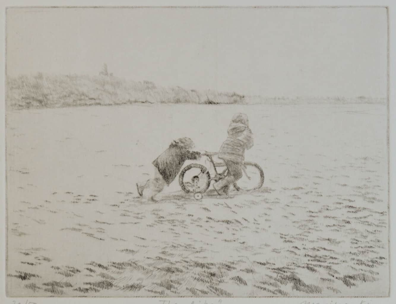 """""""The Bike"""" - drawing or two children pushing a bike up a grassy hillside. Original print drypoint by artist Marina Kim"""