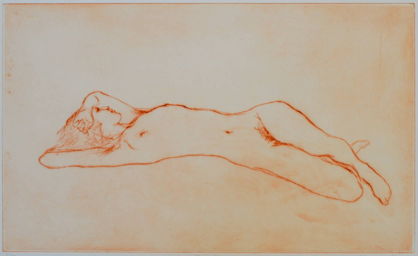 """""""Jade Reclining"""" - line drawing of a nude female model printed in sanguine colour. Original print drypoint by painter-printmaker Marina Kim"""