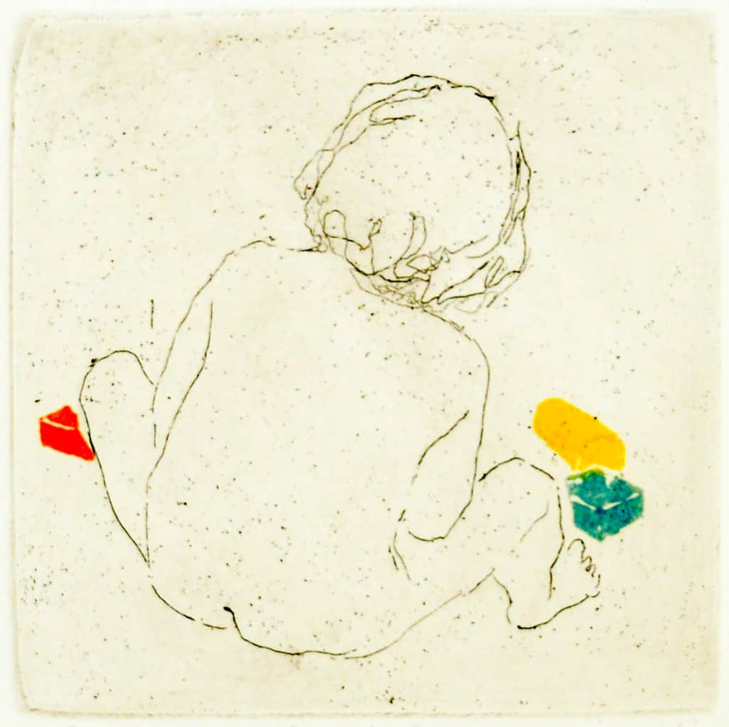"""""""Bricks"""" -  line drawing of a baby playing with coloured bricks. Original print etching with linocut by painter-printmaker Marina Kim"""