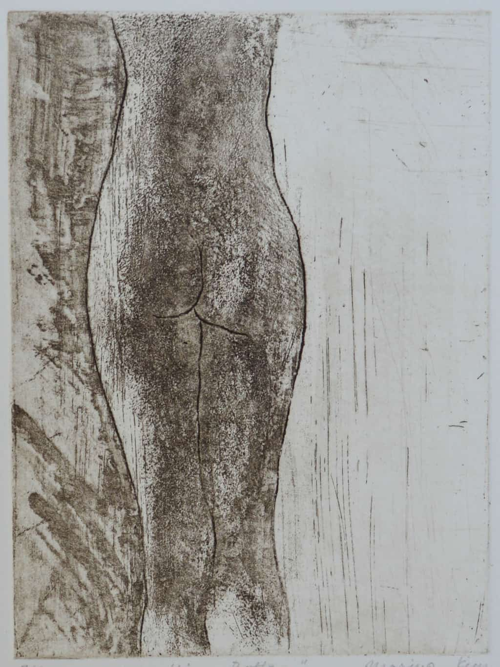 """""""Nice Bottom!"""" - drawing of a female nude model back. Original print etching"""