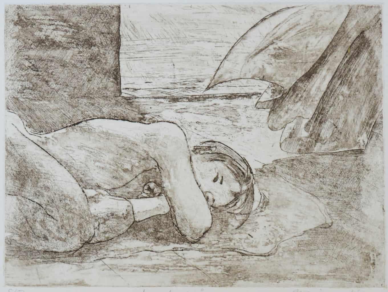 """Sanctuary"" - original print etching. Female nude, curtains, window"