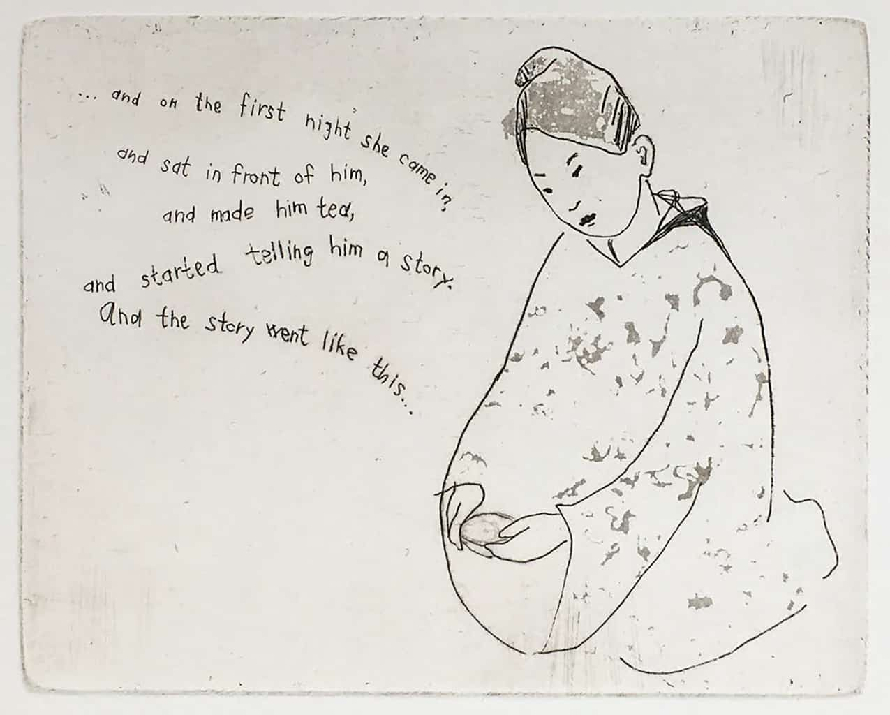 """""""Story-teller"""" line drawing of a woman wearing a kimono with a cup of tea in her hands. Original print etching by painter-printmaker Marina Kim"""