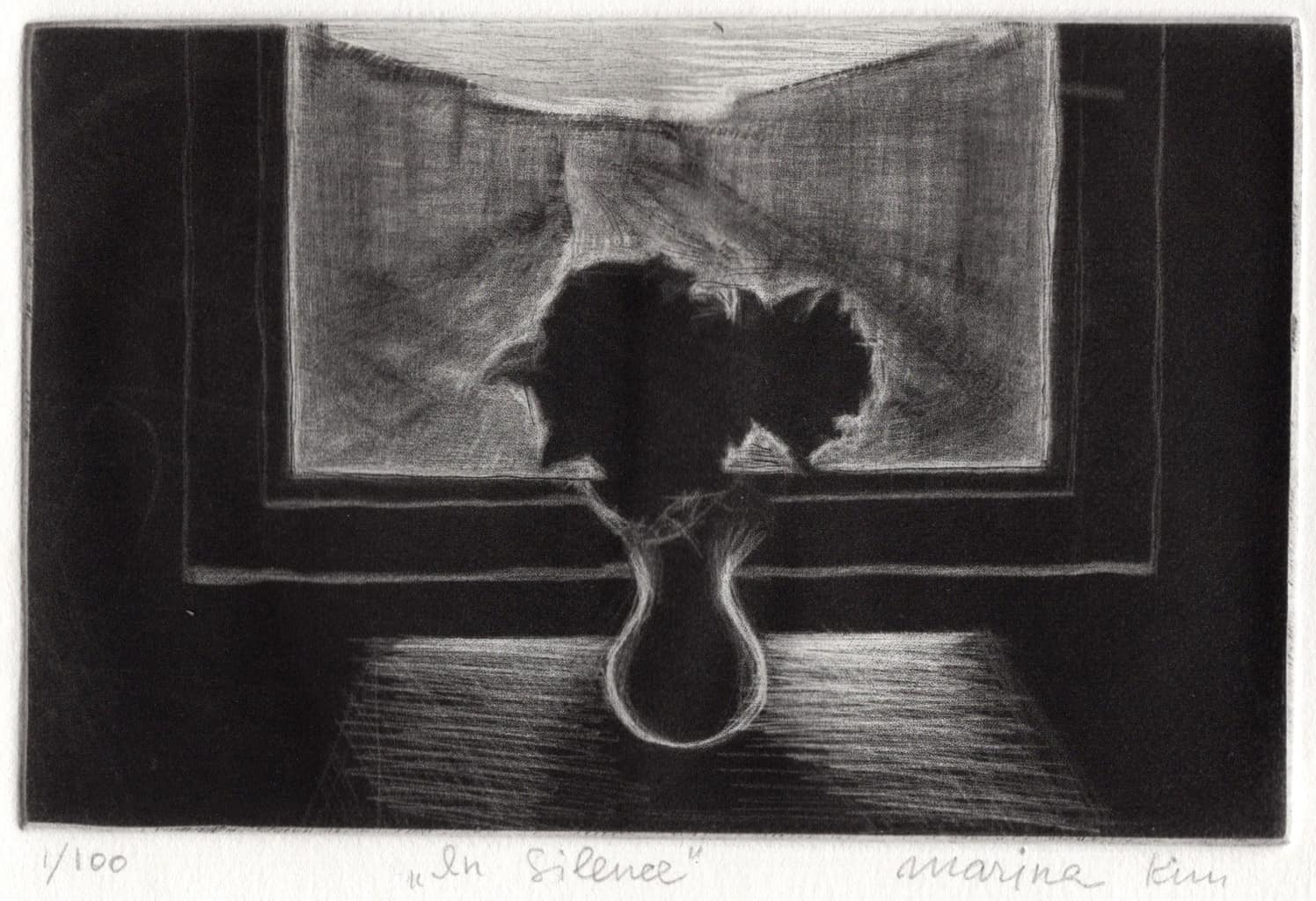 """""""In Silence"""" - Black and white picture of flowers on a table in front of a window with city view. Original print mezzotint by painter-printmaker Marina Kim"""