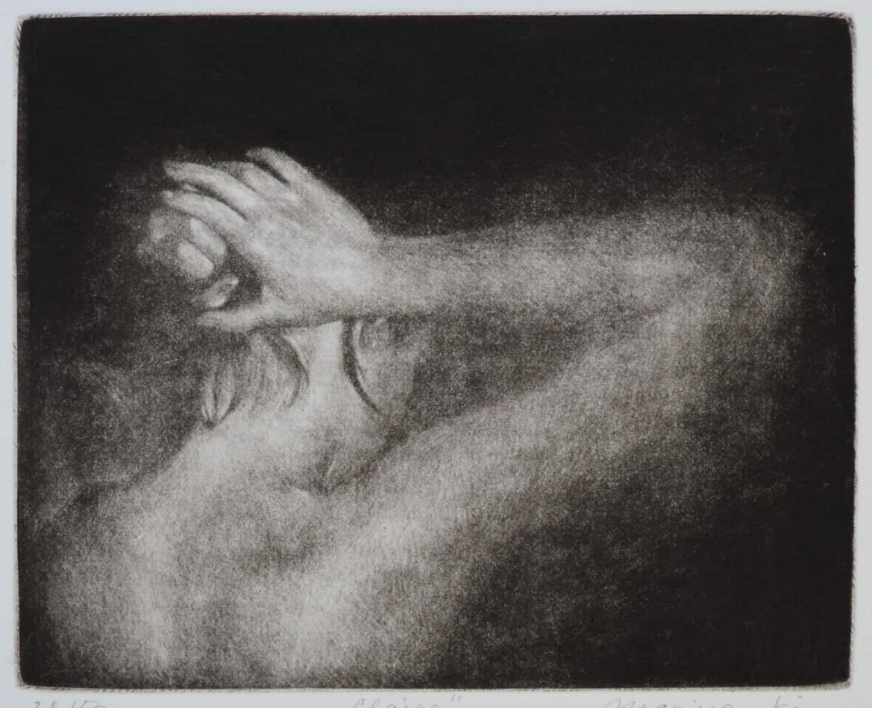 """""""Claire"""" - picture of a girl doing her hair up, against a black background. Original print mezzotint by painter-printmaker Marina Kim"""