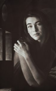 """""""Unheard Melody"""" - Black and white picture of a beautiful woman (model Eve Delf) swaying with music. Original print mezzotint by painter-printmaker Marina Kim"""