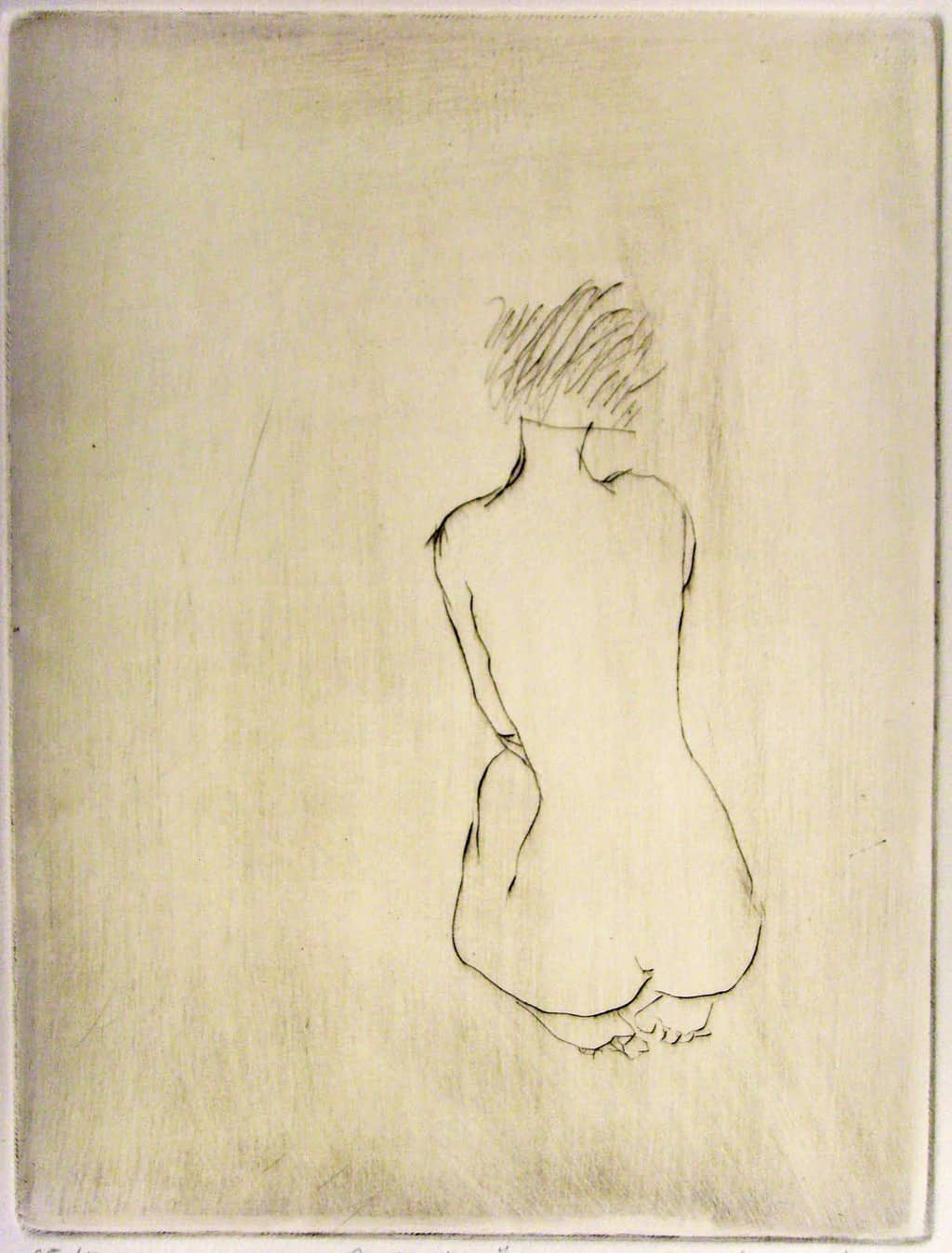 """""""Morning"""" - line drawing of a female nude kneeling with her back to the viewer. Original print drypoint by British painter-printmaker Marina Kim"""