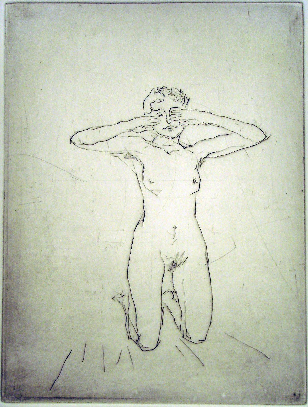 """Wakey-Wakey"" - line drawing of a nude female model. Original print drypoint by portrait artist painter-printmaker Marina Kim"