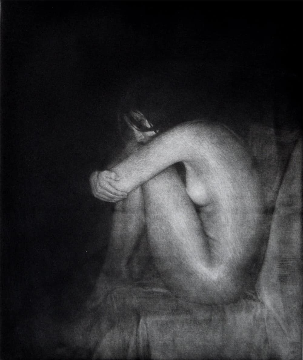"""""""Claire"""" 3 - black and white picture of a female nude model sitting on a chair. Original print mezzotint by painter-printmaker Marina Kim"""