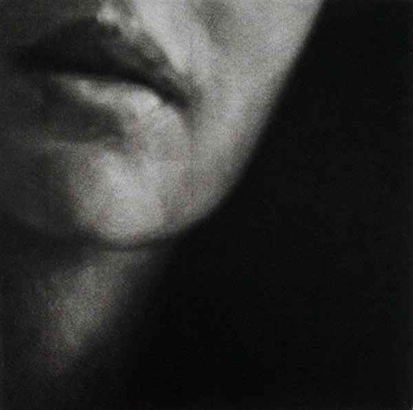 """""""Eve"""" 2 - Fragment of a woman's face (model Eve Delf) with parted lips, on a black background. Original print mezzotint by painter-printmaker Marina Kim"""