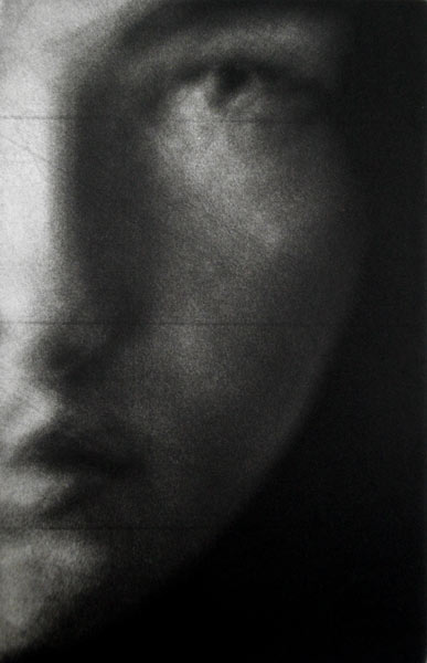 """""""Eve"""" 3 - Fragment of a woman's face (model Eve Delf) with eyes open, on a black background. Original print mezzotint by painter-printmaker Marina Kim"""