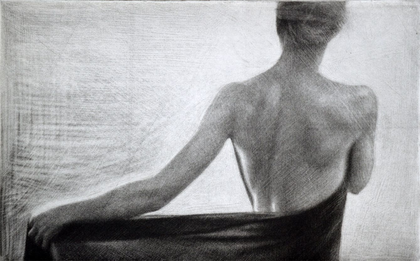 """""""Sun"""" - 1 - Back view of a female model wrapping herself in a shawl. Original print mezzotint by painter-printmaker Marina Kim"""