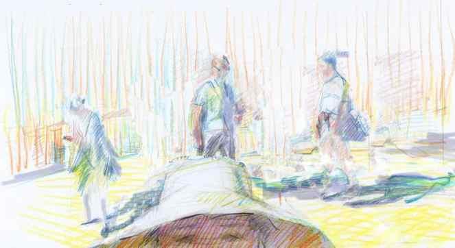 """Family Dynamics"" Watercolour pencil drawing by painter printmaker Marina Kim"