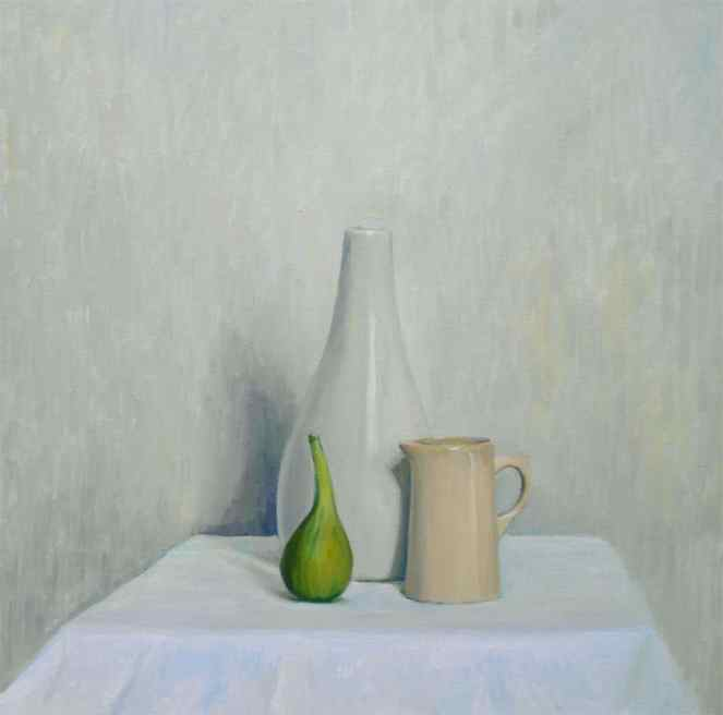 White Still life With a Fig. Oil on canvas painting by British artist Marina Kim