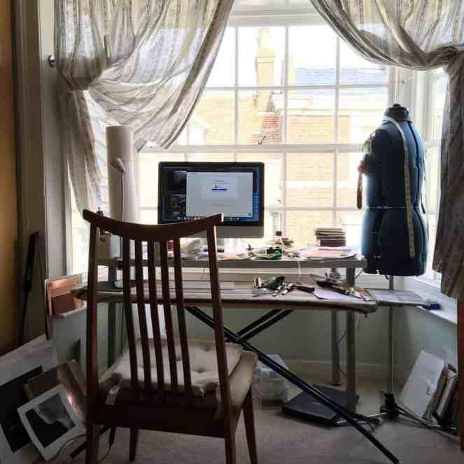 Printmaking studio in the bay window of the bedroom.